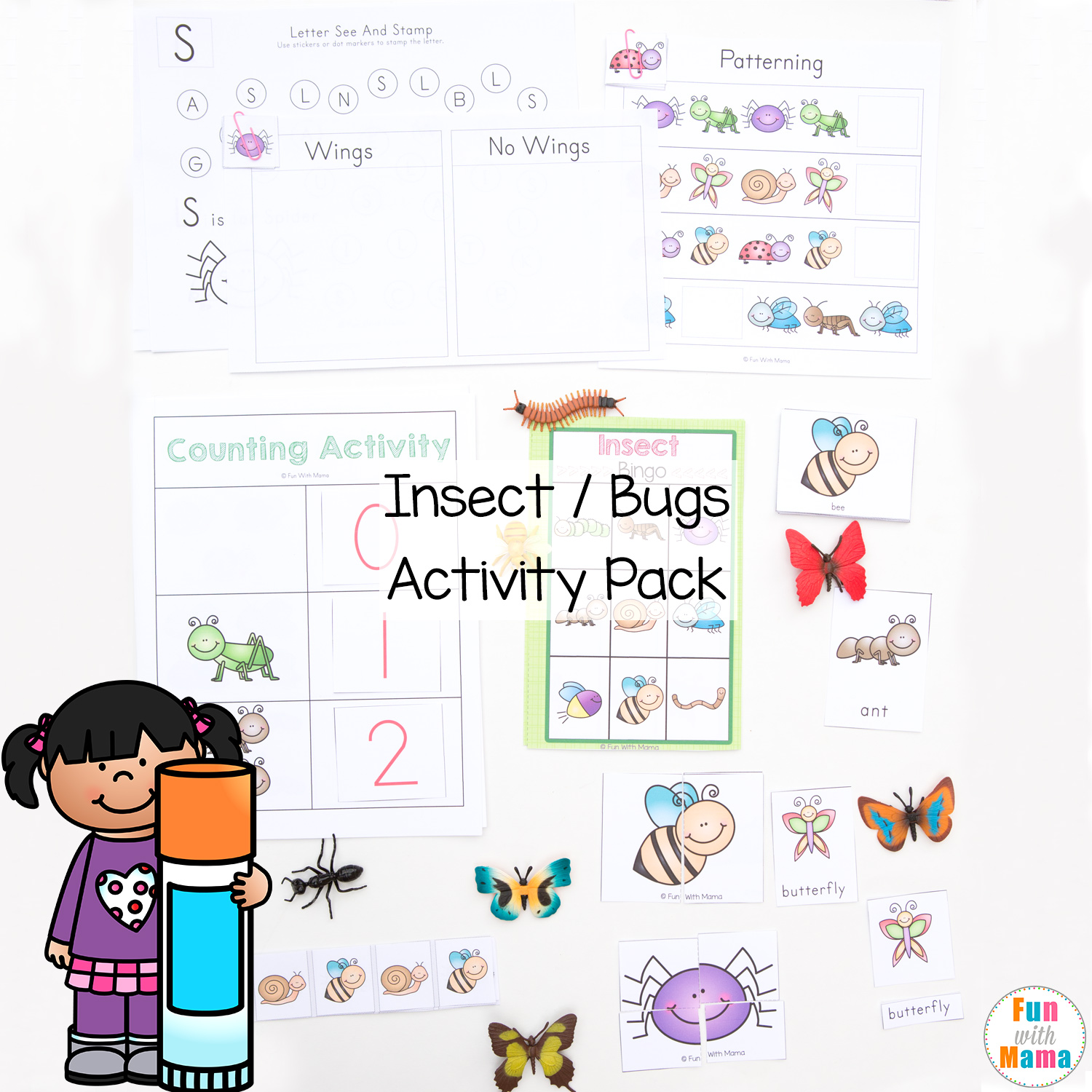picture regarding Printable Bugs identified as Insect Insects Printable Match Pack for Preschoolers