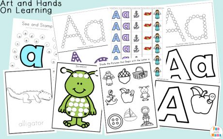 Free printable letter a activities, worksheets, crafts and learning pack.