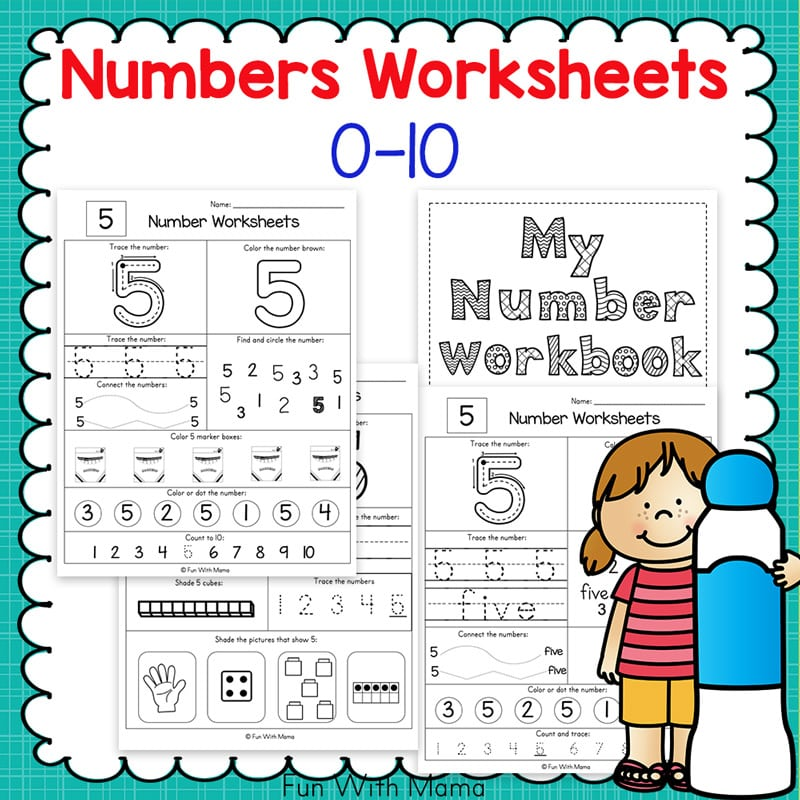 Number Worksheets 1 10 Fun With Mama Shop