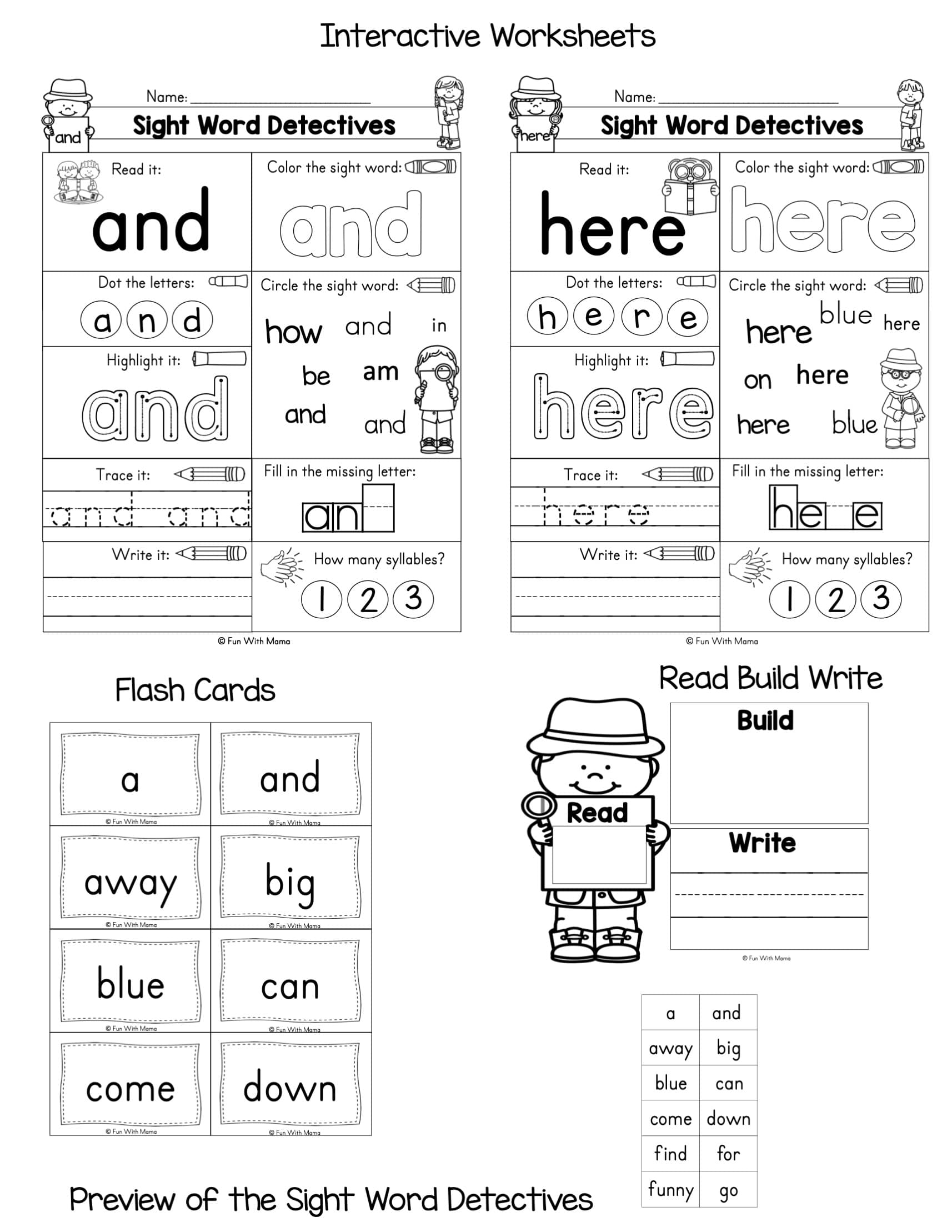 - Sight Word Worksheets- Dolch Pre-primer Sight Word Detectives