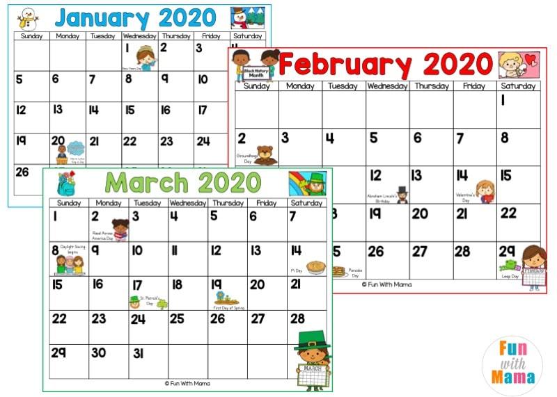 2020 2021 Calendar Printable - Fun with Mama Shop